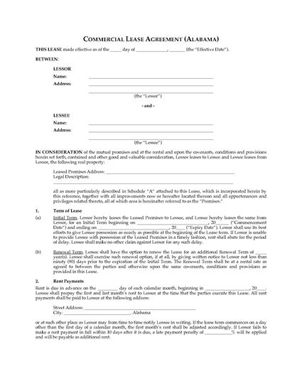 Picture of Alabama Commercial Triple Net Lease Agreement