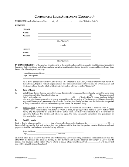 Picture of Colorado Commercial Triple Net Lease Agreement