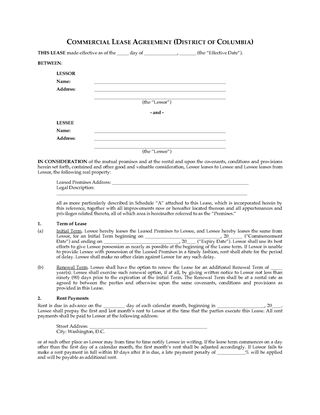 Picture of DC Commercial Triple Net Lease Agreement