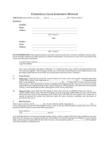 Picture of Hawaii Commercial Triple Net Lease Agreement