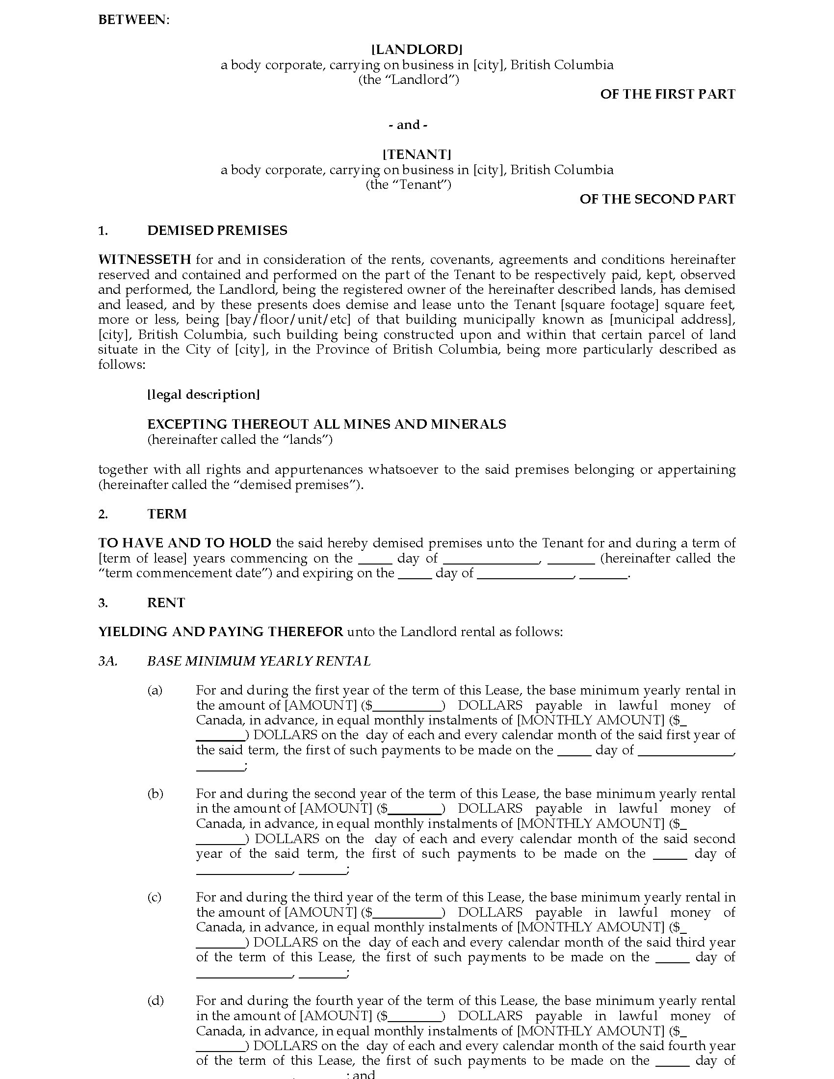 British Columbia Commercial Triple Net Lease Agreement