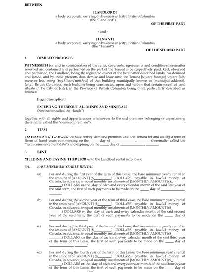 Picture of British Columbia Commercial Triple Net Lease Agreement