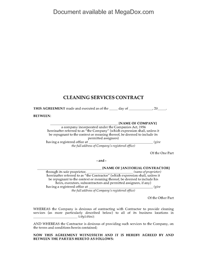 Picture of Cleaning Services Contract for Office Building | India