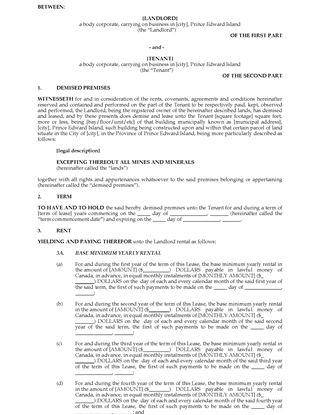 Picture of PEI Commercial Triple Net Lease Agreement