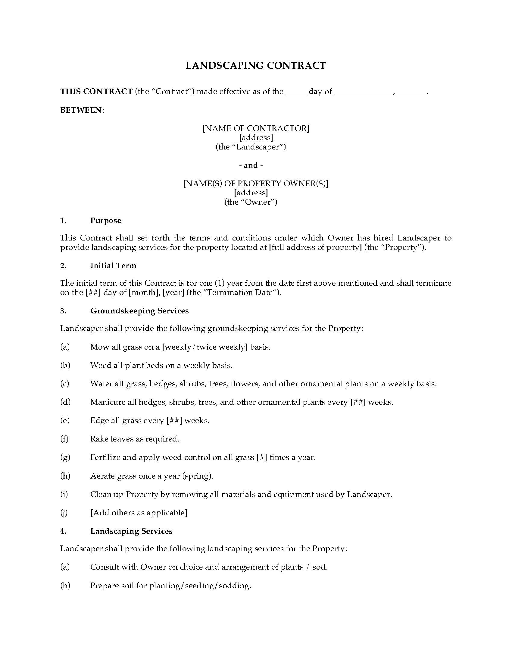 Landscaping Contract Form Legal Forms And Business Templates