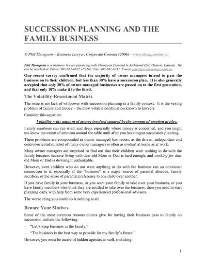 Picture of Succession Planning and the Family Business
