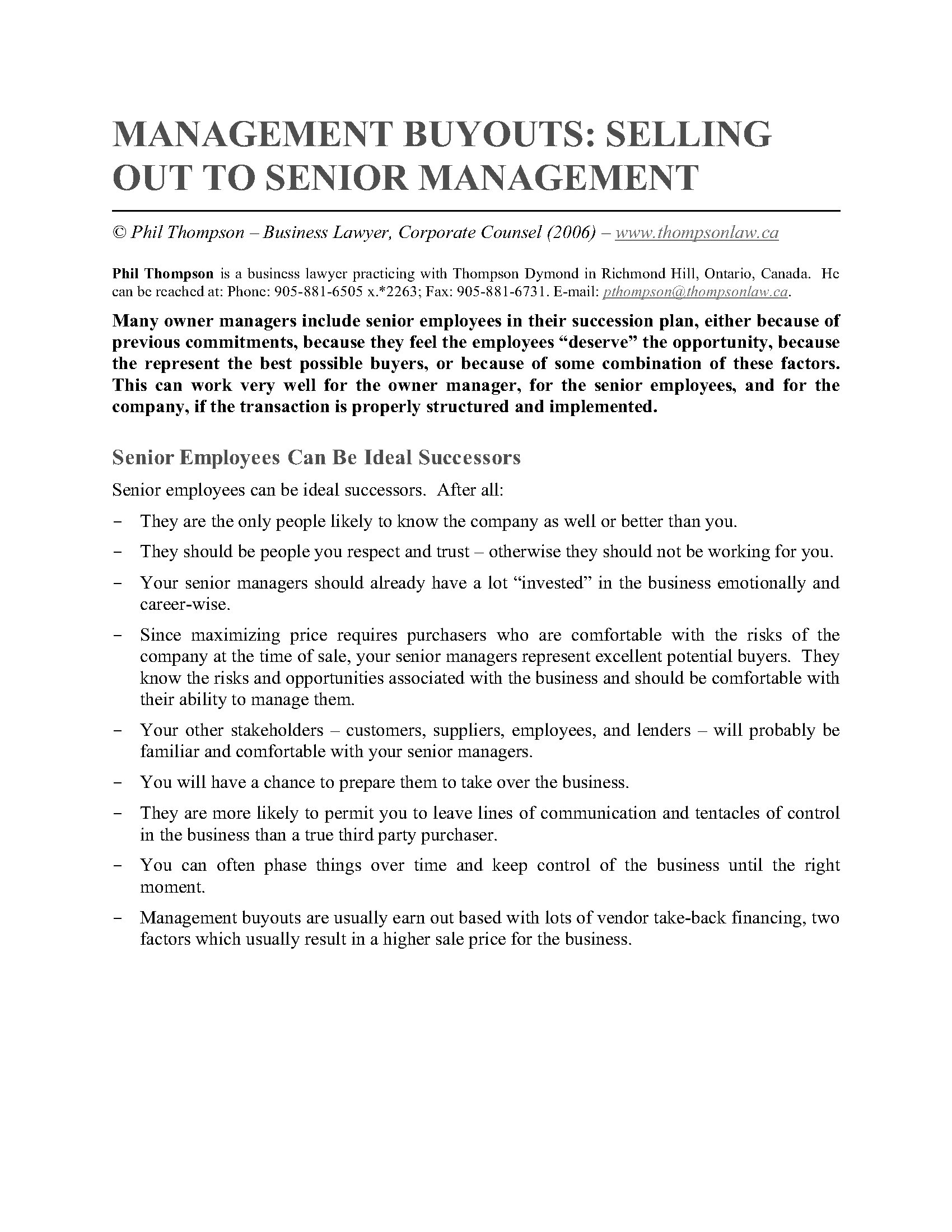 Management Buyouts  Selling Out To Senior Management  Legal Forms  Picture Of Management Buyouts  Selling Out To Senior Management