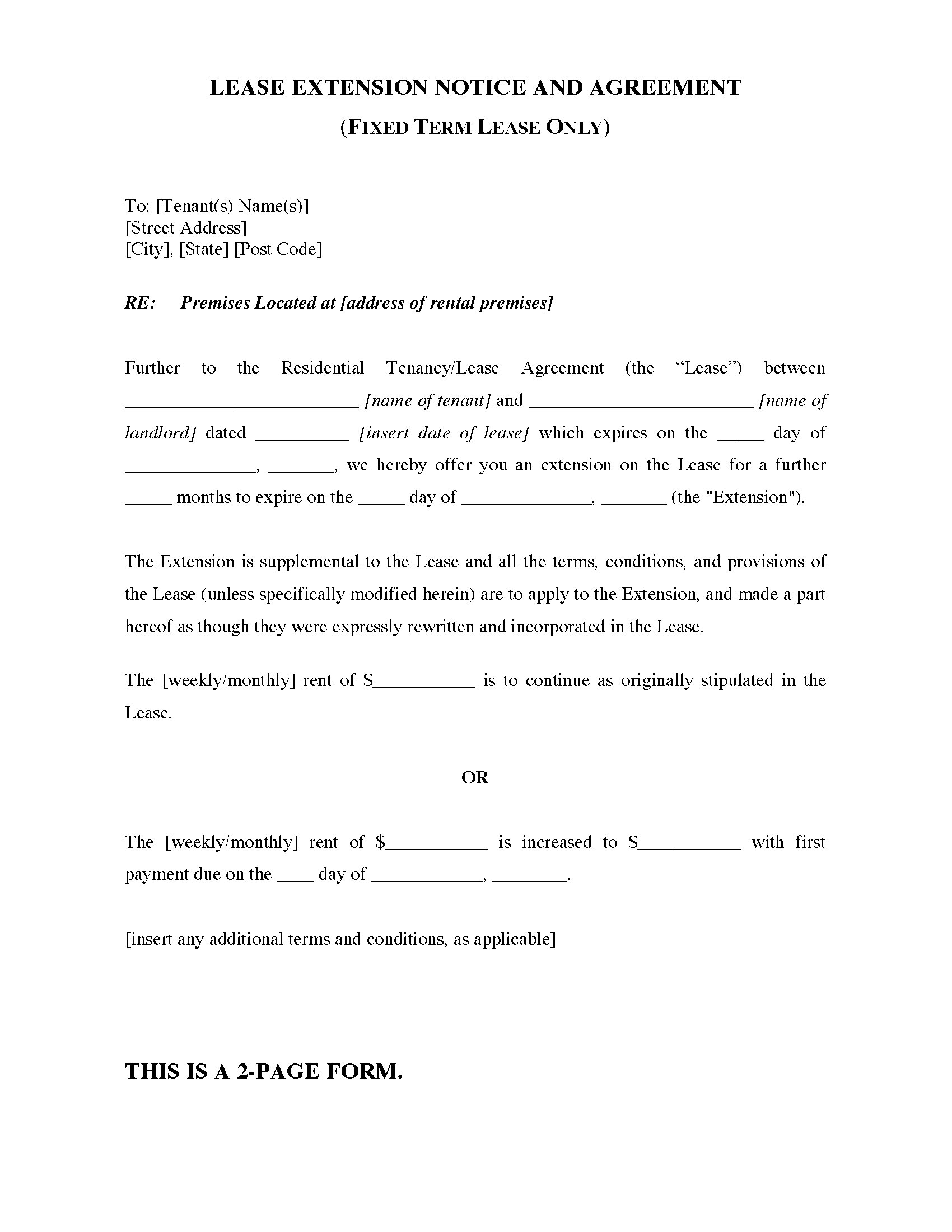 rental lease extension agreement template sle