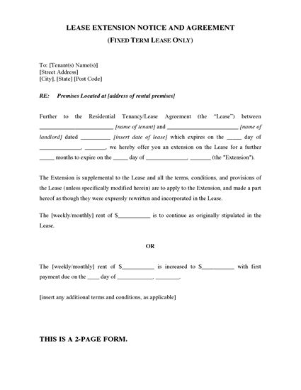 Picture of South Australia Fixed Term Lease Extension Agreement