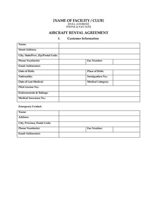 Picture of Aircraft Rental Agreement