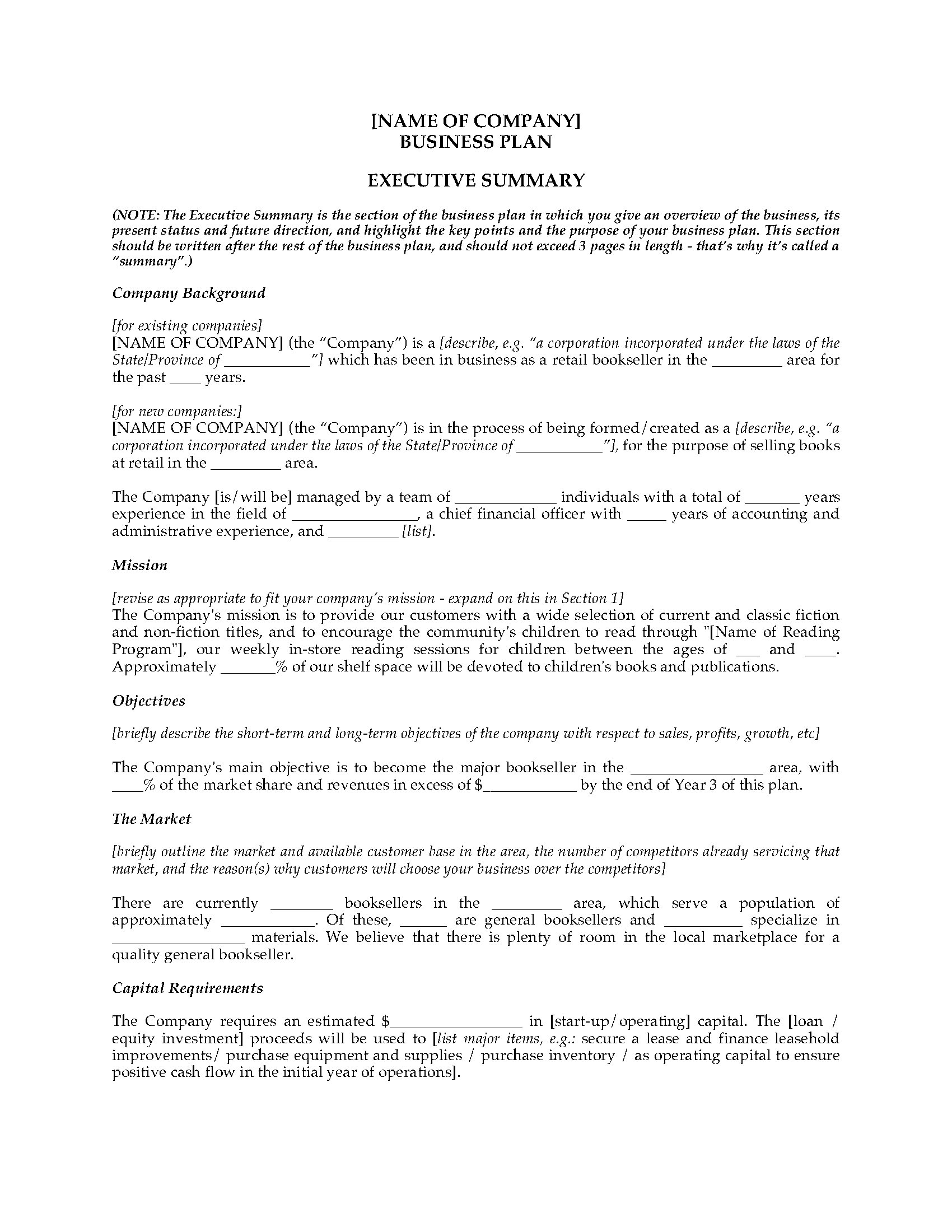 Book Store Business Plan Legal Forms And Business Templates - Bookstore business plan template