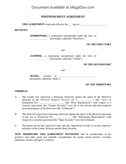 Picture of Postponement Agreement under PPSA | Canada