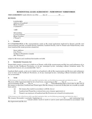 Picture of NWT Residential Tenancy Agreement