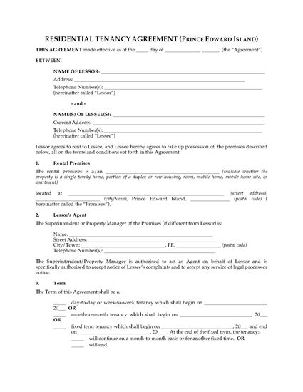 Picture of PEI Residential Tenancy Agreement