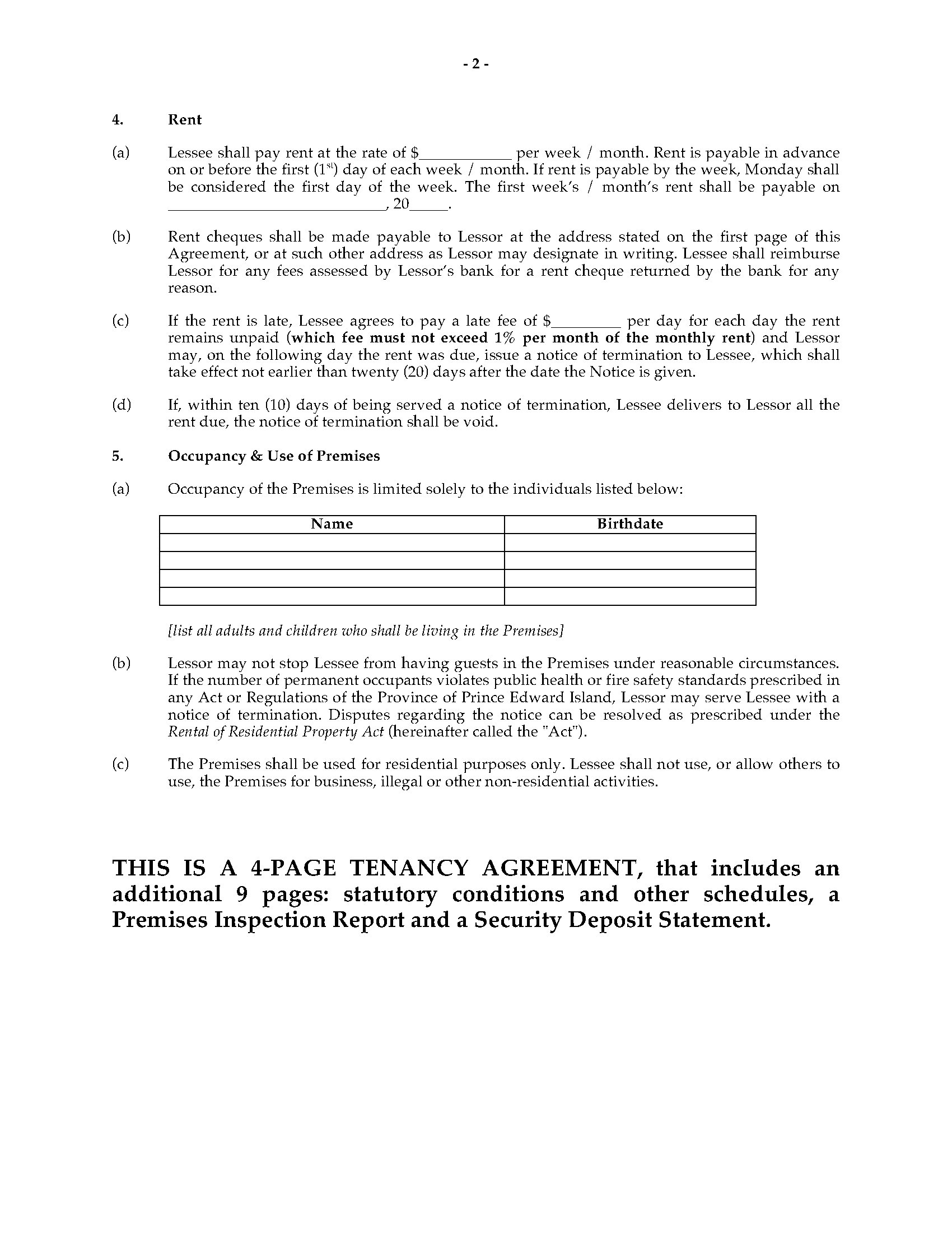 Pei Residential Tenancy Agreement Legal Forms And Business