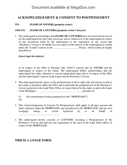 Picture of Alberta Purchaser's Consent to Postponement of Caveat