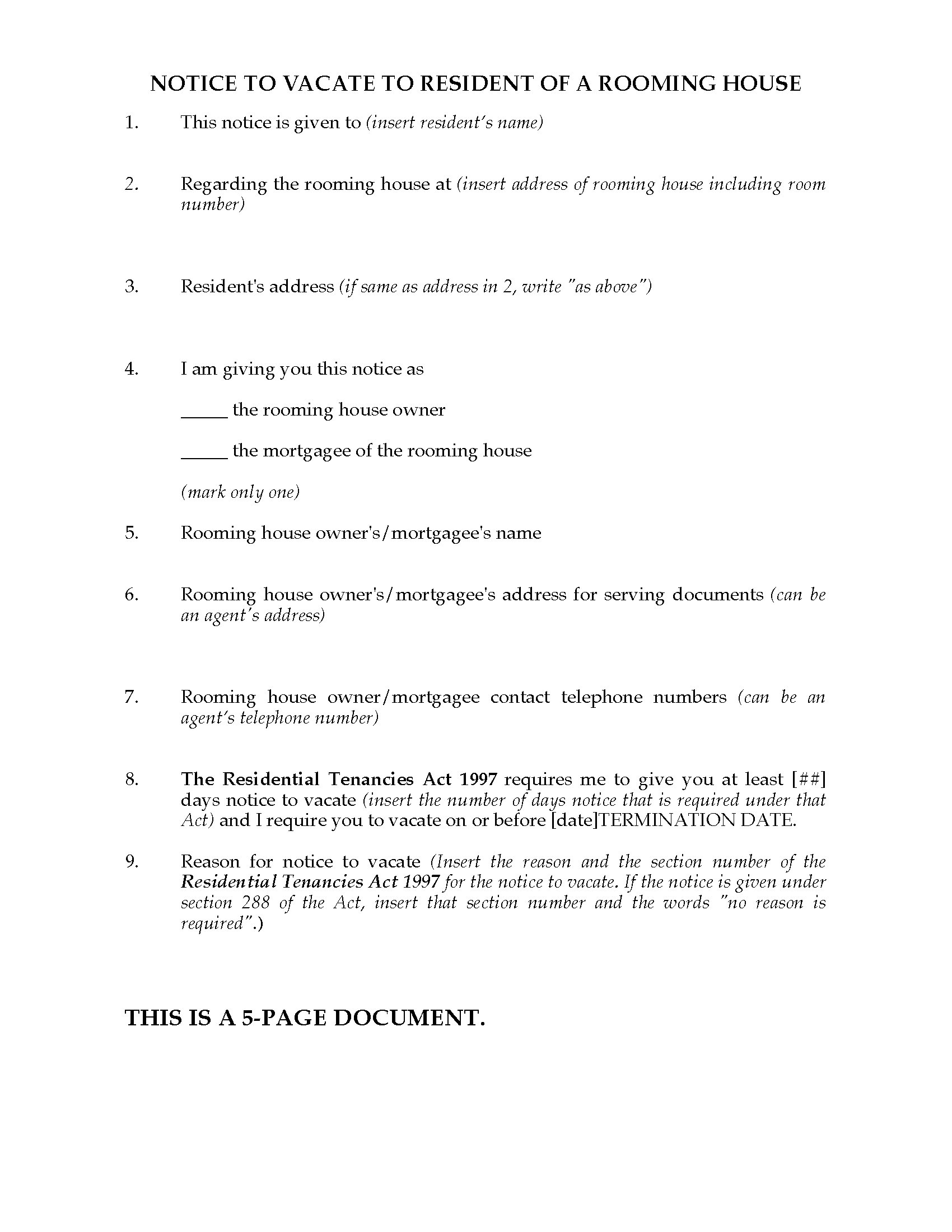notice to vacate commercial property