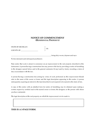 Picture of Michigan Notice of Commencement - Residential Property