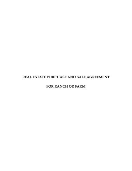 Picture of USA Real Estate Purchase and Sale Agreement for Ranch or Farm