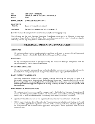 Picture of Film Production Standard Operating Procedures