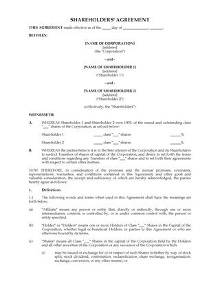 Shareholder Agreements And Forms | Legal Forms And Business