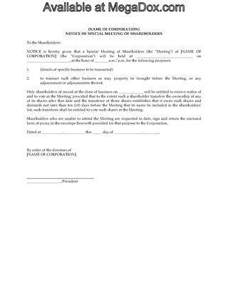 Picture of Special Shareholder Meeting Forms | Canada