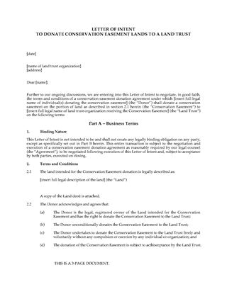 Picture of Letter of Intent to Donate Conservation Easement to Land Trust
