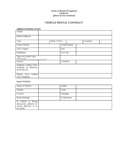 Picture of Vehicle Rental Contract   New Zealand