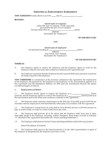 Picture of Individual Employment Agreement | New Zealand