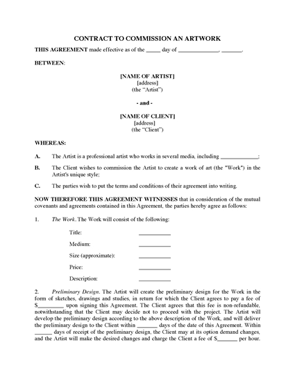Picture of Commission Contract for Original Art