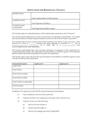 Picture of Queensland Application for Residential Tenancy