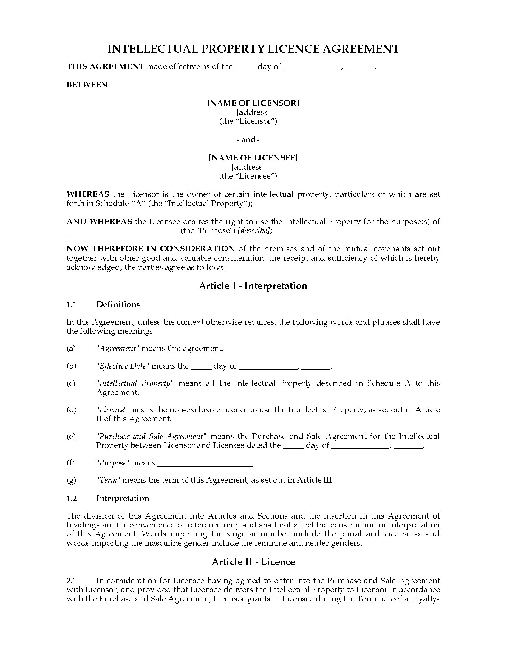 New zealand intellectual property licence agreement for Intellectual property licence agreement template