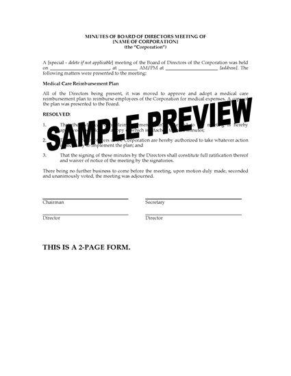 Picture of Director Minutes to Adopt Medical Reimbursement Plan | USA