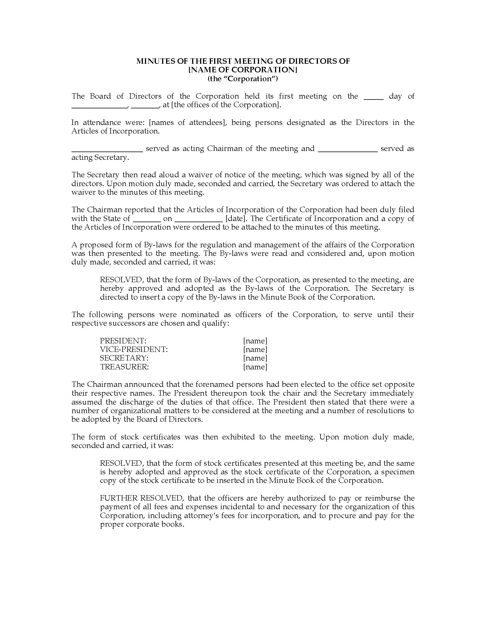 USA Minutes Of First Directors Meeting Legal Forms And Business - Legal form books
