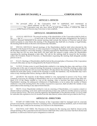 Picture of Corporate Bylaws (USA)