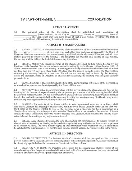 Picture of Corporate Bylaws | USA