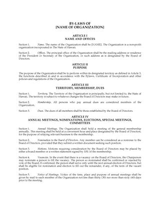 Picture of Hawaii Bylaws of Nonprofit Corporation