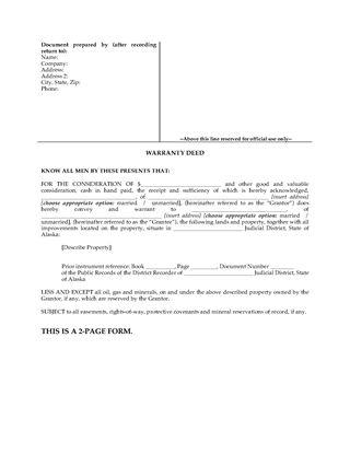 Picture of Alaska Warranty Deed Form