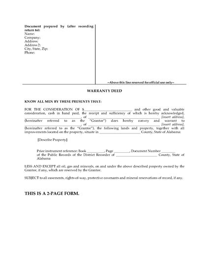 Picture of Alabama Warranty Deed Form