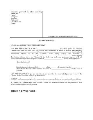 Picture of Arizona Warranty Deed Form