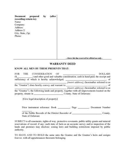 Picture of Delaware Warranty Deed Form