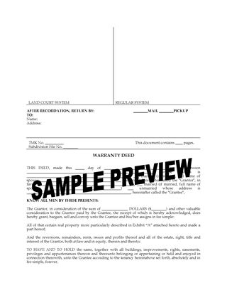 Picture of Hawaii Warranty Deed Form