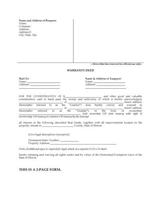 Picture of Illinois Warranty Deed