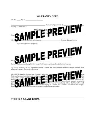 Picture of Kansas Warranty Deed Form