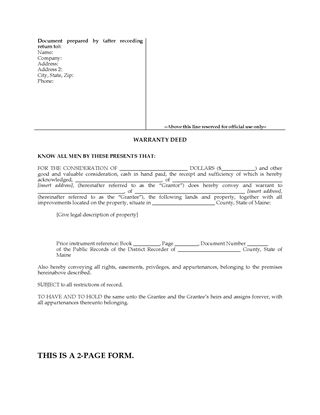 Picture of Maine Warranty Deed Form