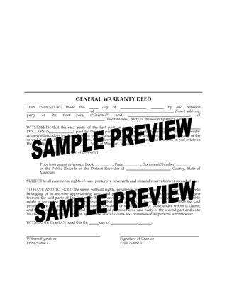 Picture of Missouri Warranty Deed Form