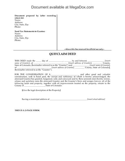 Picture of Colorado Quitclaim Deed