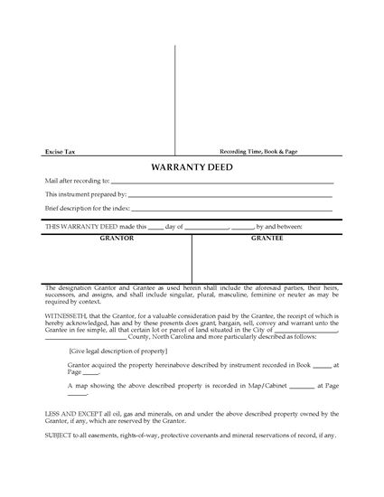 Picture of North Carolina Warranty Deed Form