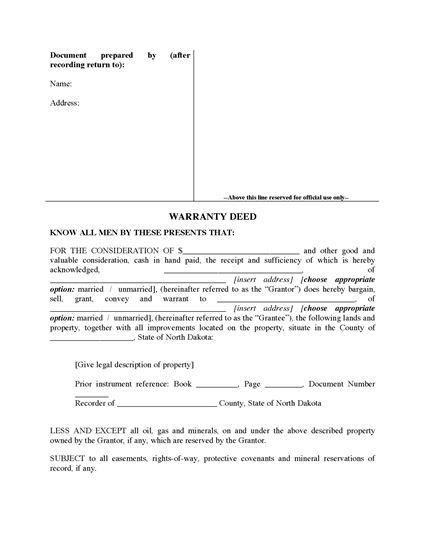 Picture of North Dakota Warranty Deed Form