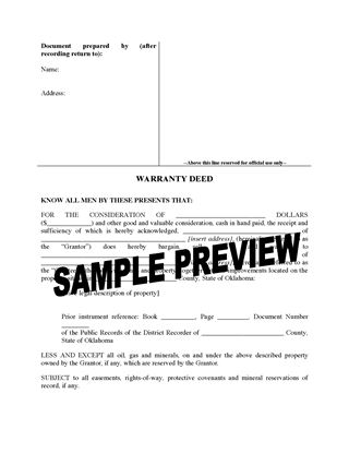 Picture of Oklahoma Warranty Deed Form